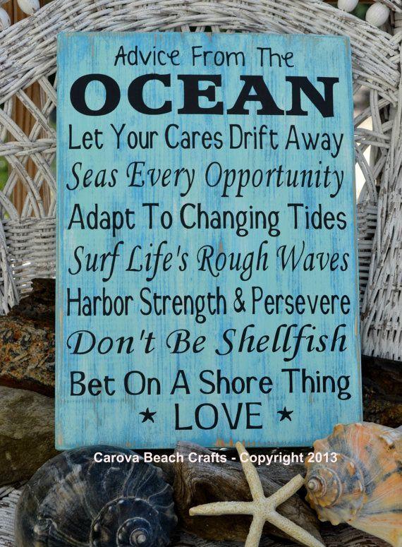 Beach Decor - Advice From The Ocean - Beach Sign - Beach Wedding - Coastal Wedding - Beach House - Beach Theme - Sign - Wood - Hand Painted on Etsy, $47.13 AUD