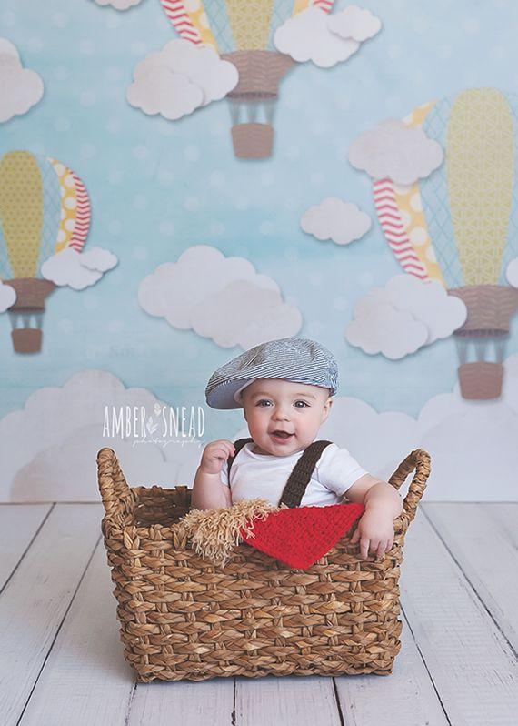 Photography Backdrop Hot Air Balloons Boy Boy Cake