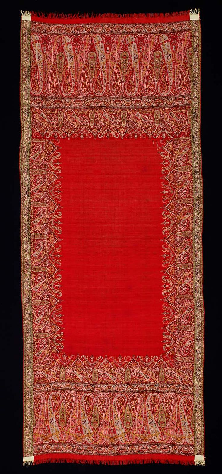 Paisley shawl   Iranian   Dated 1835 - 1840 A.D.   Cashmere wool   Appears to be a kani weave   Elongated buta shapes along the top and bottom came into style in the early/mid 19th century (1820s-1830s)   Found in the Museum of Fine Arts Boston   http://www.mfa.org/collections/object/shawl-73194