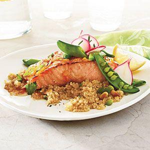 Roasted Salmon with Soy-Marmalade Glaze and Snap Peas Menu | CookingLight.com