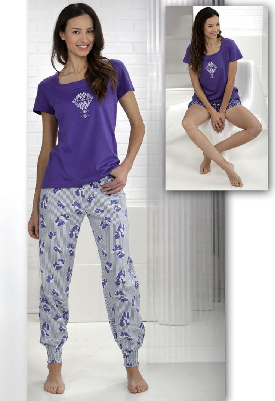Conjunto pijama 3 piezas. Pantalón floral largo, Shorts estampado geométrico y camiseta corta. #Pyjama #Massanahomewear #Women #Massana