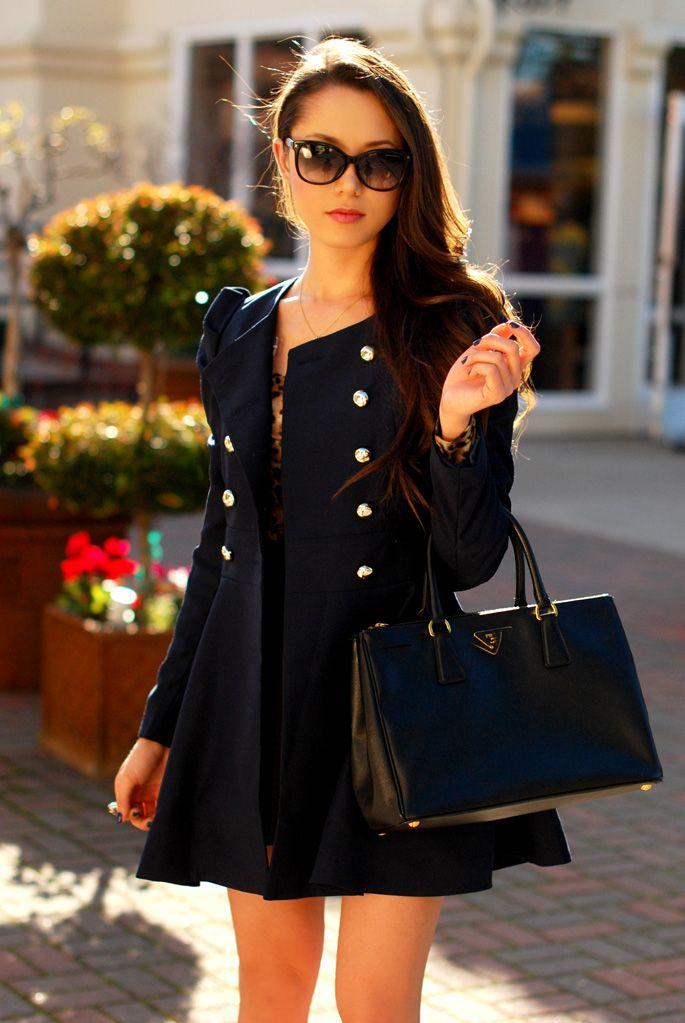 navy peplum jacket + black skater skirt + leopard top + black bag (prada) + navy nails + gold details + black pumps