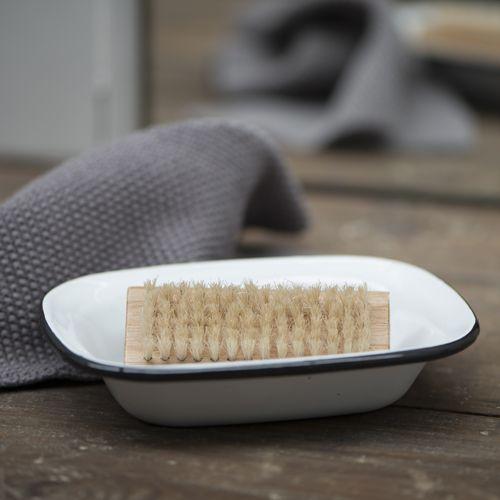 Porte-savon en métal émaillé blanc et liseré noir : Decoclico