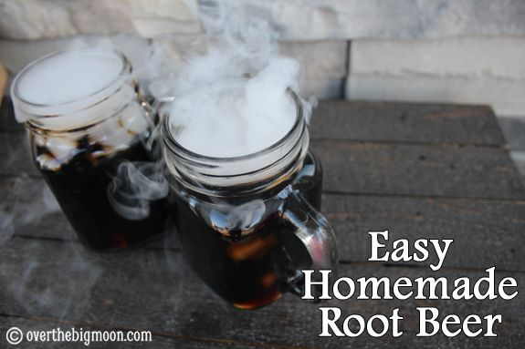 Easy Homemade Root Beer!  Only 4 ingredients!  Help make your Halloween celebration extra fun and spooky with Homemade Root Beer!  Kids LOVE it too!