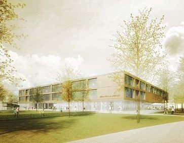 Further development of the area in Lippstadt to a modern school campus with the building blocks comprehensive school, elementary school, sports halls and swimming baths and the complete preservation of the Theodor-Heuss-parks.