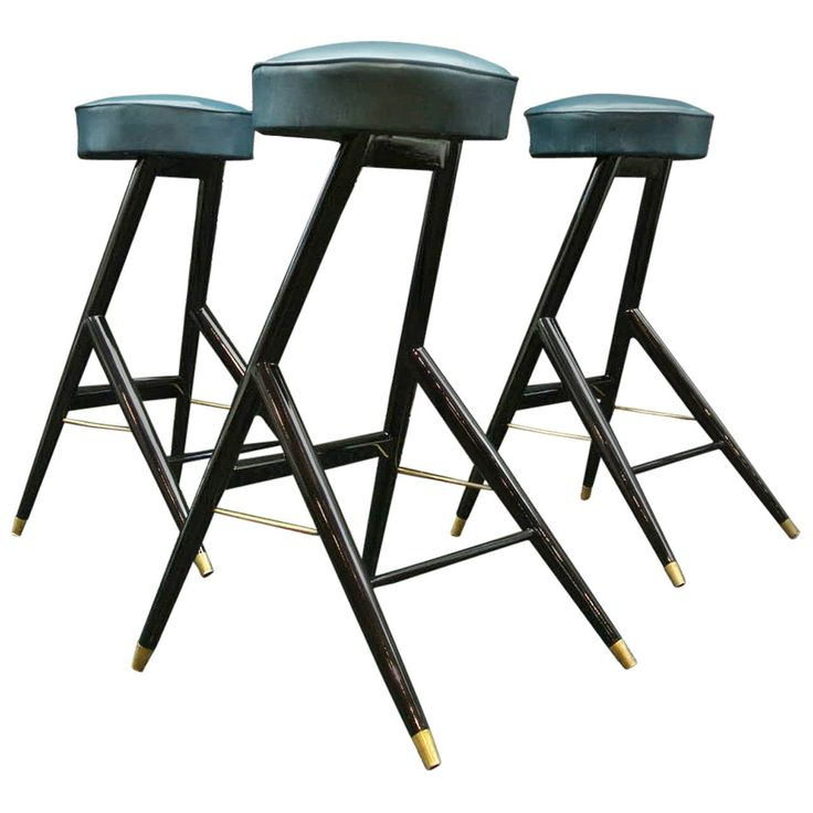 Italian Set of Bar Stools | From a unique collection of antique and modern stools at https://www.1stdibs.com/furniture/seating/stools/