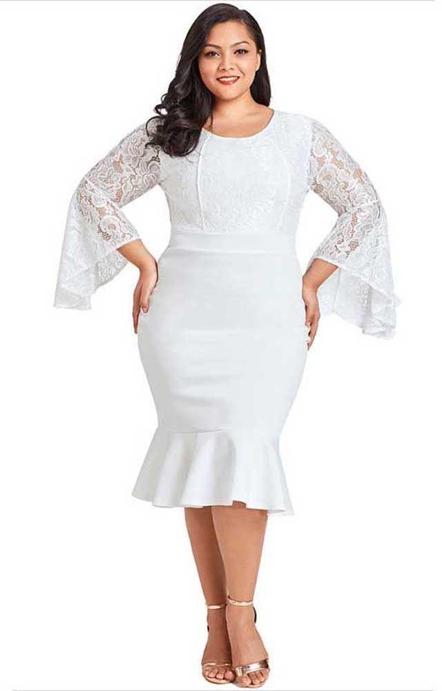 886b145108bf Women's #white long bell sleeve #PlusSize midi #dress plain design, Round  neckline, Ruffle hem, casual and leisure.