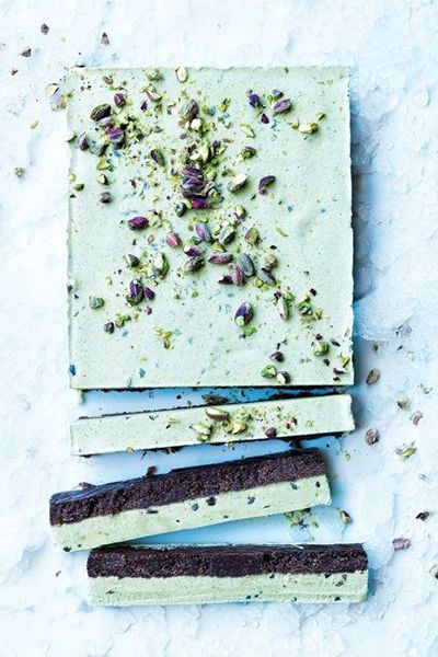 Pistachio & Cacao Ice Cream Cake | deliciousmagazine: Pistachio Ice Cream and Cacoa Slice by delidious.com.au: The pure pistachio flavour in this slice comes from an easy homemade pistachio milk, which is perfect with the fudgy cacoa base. #Ice Cream #Pistachio #Cocoa