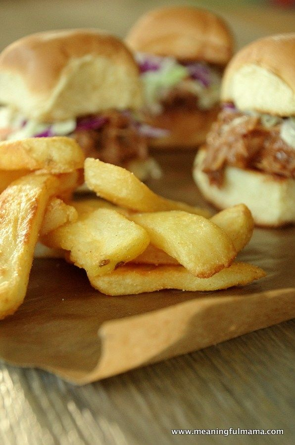 These slow cooker BBQ pulled pork sliders with a side of Ore-Ida@ fries make you feel like you are eating at a restaurant