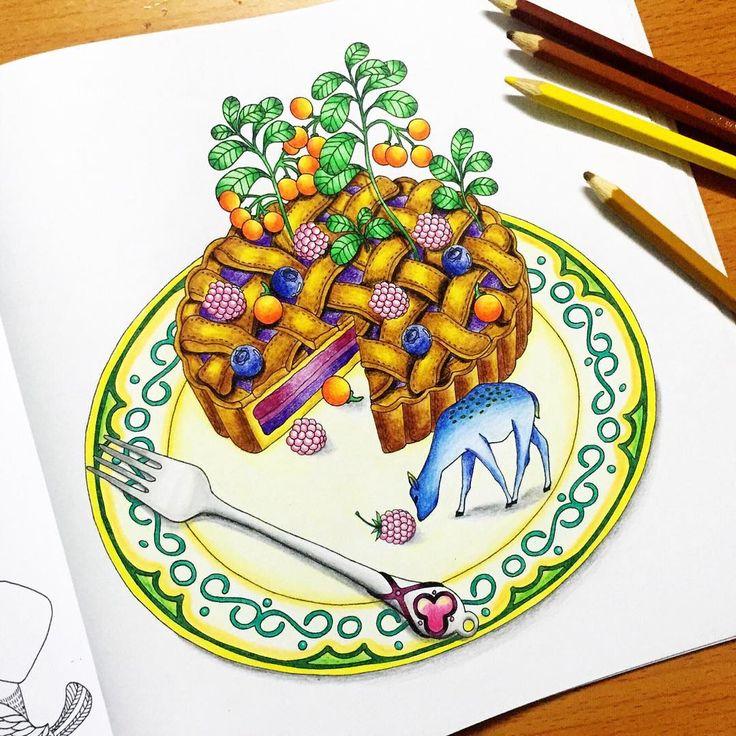 Pie Cake In Wonderland Piecake Coloringbook Motngaydeptroi Yummy