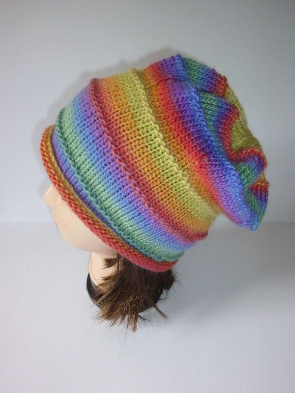 Slouchy beanie. Slouch hat. Rainbow colour beanie. Multi color hat. Knit slouch hat. Bright coloured hat. Knitted slouch. Hand knit slouch. by Thingswelike2knit on Etsy