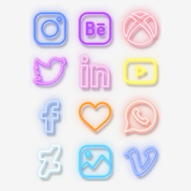 Neon Lights Social Software Logo Elements Cow Icon Colour Social Software Logo Png Transparent Clipart Image And Psd File For Free Download Social Media Icons Vector Social Media Icons Wallpaper Iphone
