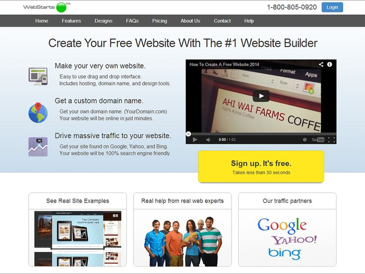 create a free professional website