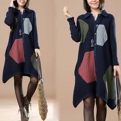 Autumn Polo Neck Long Sleeve Cardigan Dark Blue Sweater - S/M(EU…