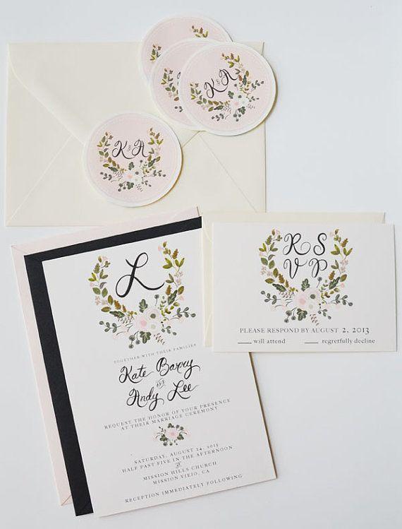 Peint à la main personnalisé mariage Invitation Suite / jeu de couronne de 25-Crest