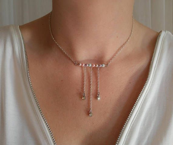 UNICORN PEARL beaded bar necklace with iridescent rhinestone