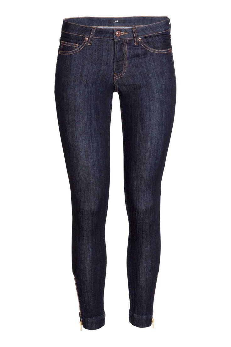 Ankle jeans: 5-pocket low-rise, ankle-length jeans in stretch denim with ultra-slim legs and a zip at the hems.