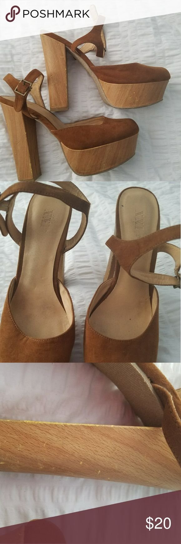 """Brown Suede Platform Wedge High Heel Shoes Suede like platform high heels are in good preloved condition  There are scuffs on the wooden heel and wedge area. They are not bad at all.   5.5"""" heel  1.75"""" wedge area XXI  Shoes Platforms"""
