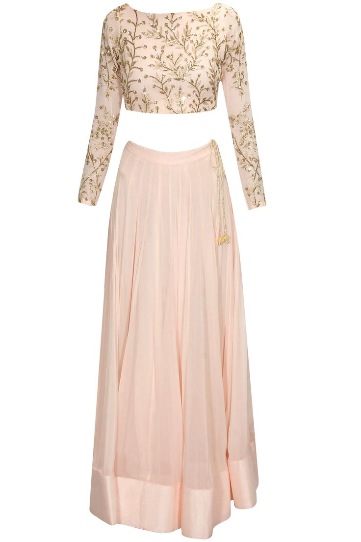 Pink embroidered lehenga set with mint embellished dupatta available only at Pernia's Pop Up Shop.