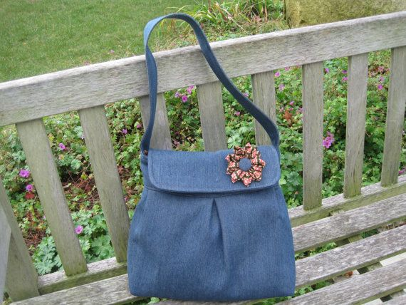 Denim Hobo Style Bag with Magnetic Flap Closure by TheJadeFrog, $40.00