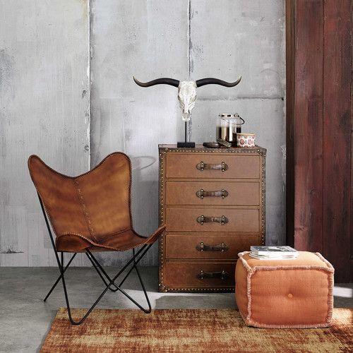Sitzpuff MADRAS aus Baumwolle, orange