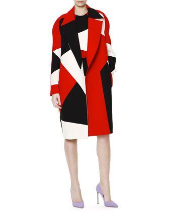 Zigzag Colorblock Wide-Lapel Caban Coat & Sheath Dress by Fausto Puglisi at Bergdorf Goodman.