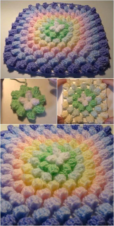 Popcorn Stitch Step By Step Crochet Pinterest Stoelkussens