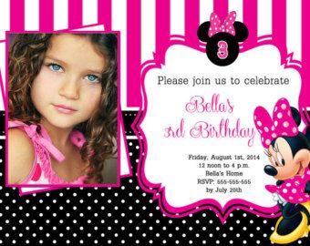 Invitations d'anniversaire chaud rose Minnie Mouse