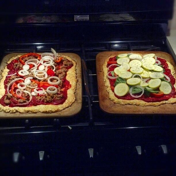 100% Paleo Cauliflower Pizza Crust! Minus the meat, it's a perfect vegan, gluten free meal!'