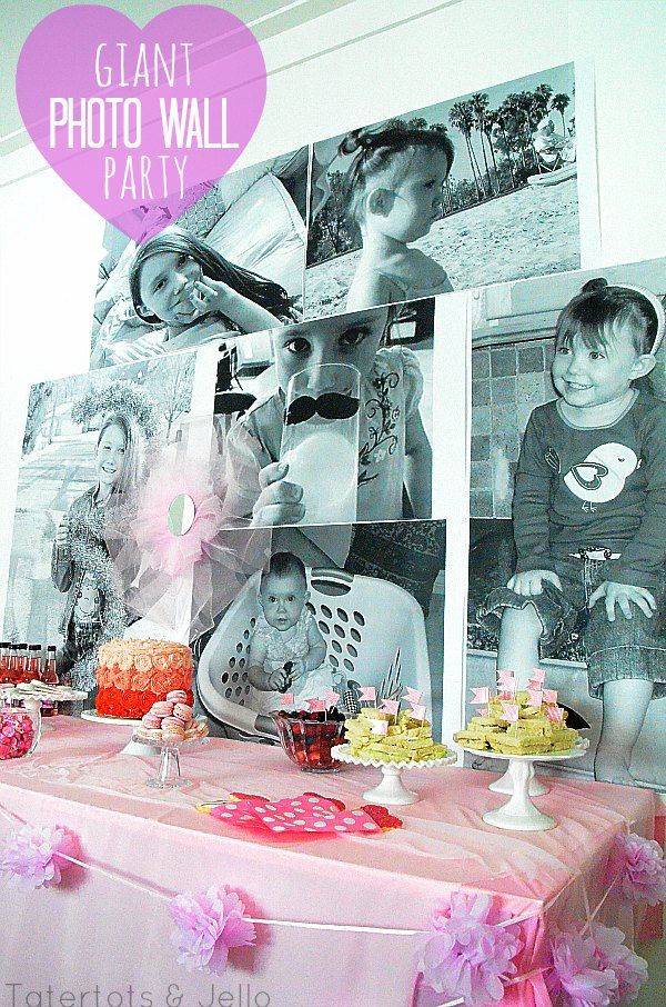Make a Giant Photo Wall Using Picture Printed on Blueprint Paper. A great party idea for a birthday, engagement party, over-the-hill party or anniversary event.