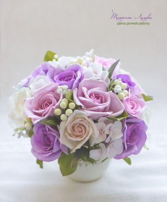 """Купить Букет """"Утро в Париже. Интерьерная композиция с цветами из фоамирана. - разноцветный, букет из фоамирана"""