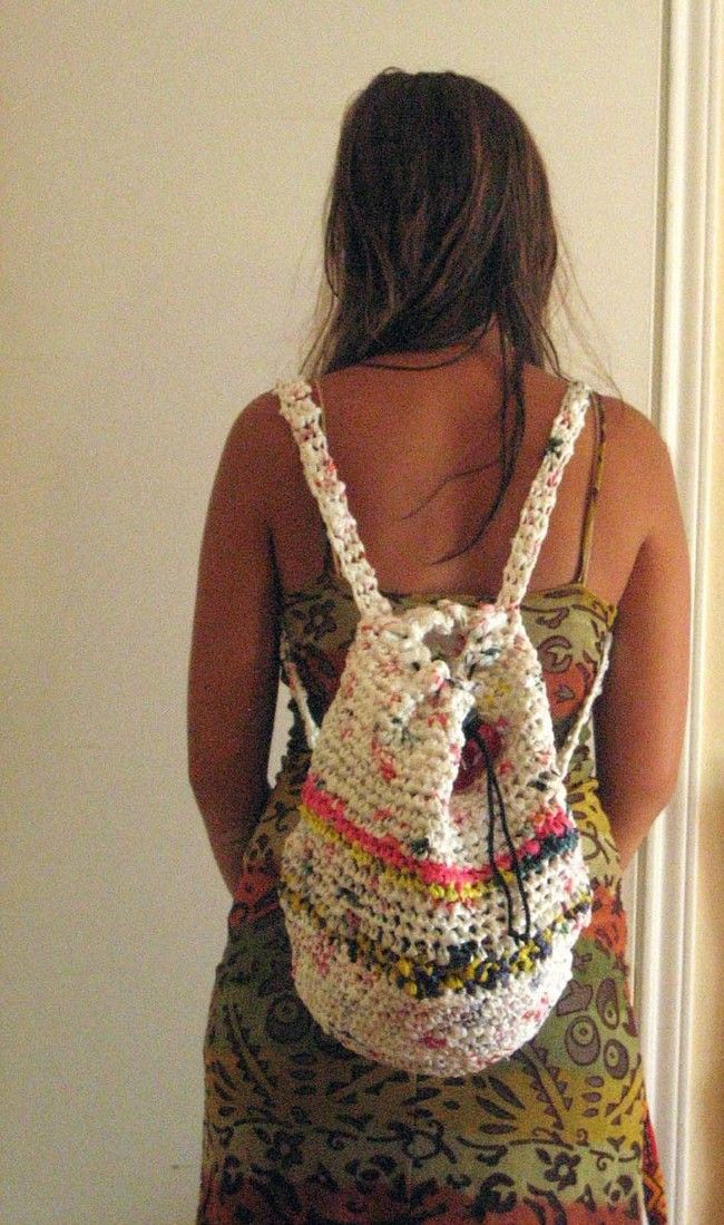 """Many people who knit and crochet make eco-friendly yarn from plastic bags called """"<a href=""""http://www.instructables.com/id/How-to-Make-Plarn-Plastic-Bag-Yarn-For-Knitting-/"""" target=""""_blank"""">plarn.</a>"""" You can make a lot of cool things with plarn, like this backpack."""