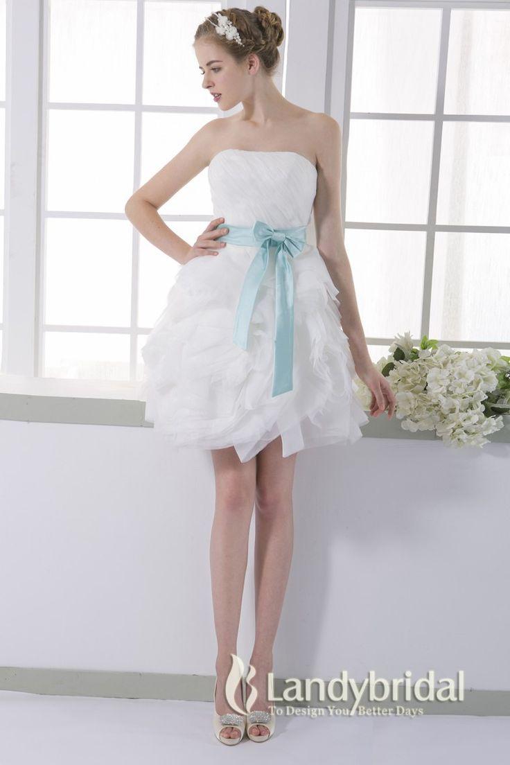 ウェディングドレス ミニ オーガンジフリル 取り外し式サテンベルト ビスチェ 二次会ドレス JWLM15003 価格 ¥31,212