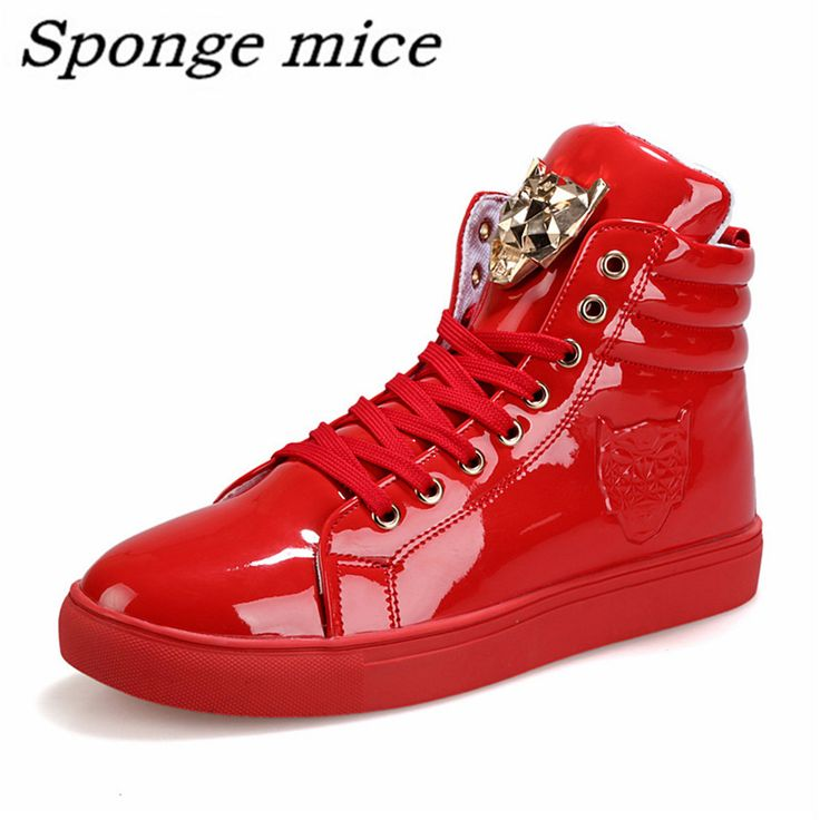 Hot sell New Men's shoe High Help Flats Fashion Metal Female Head Quality PU and Leisure men's shoes free shipping size 39-44