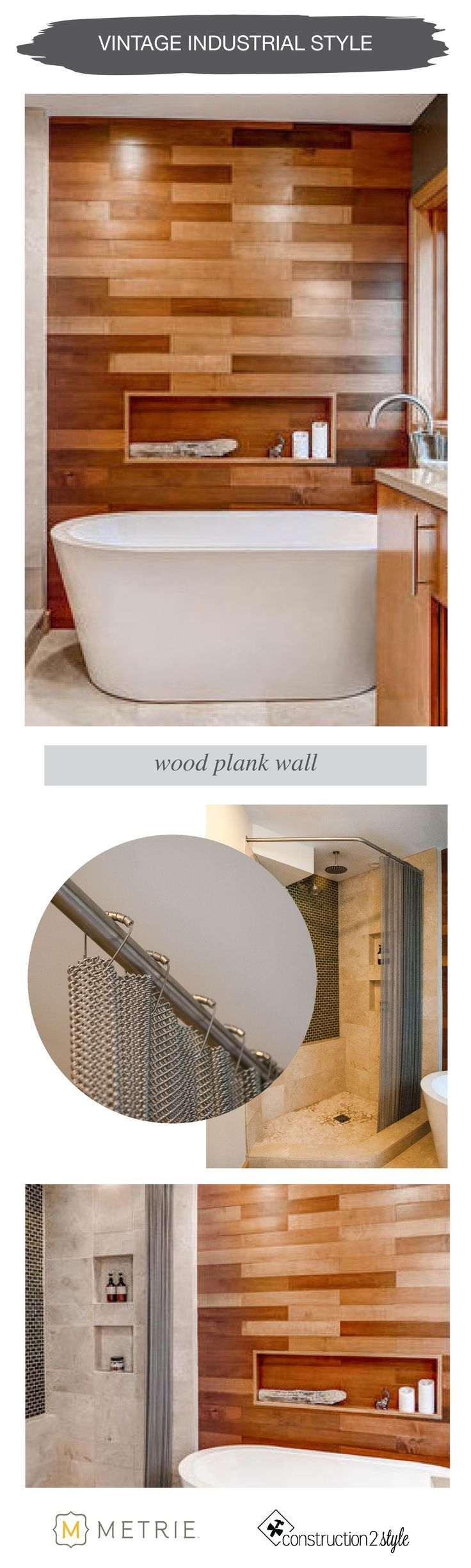 Vintage Industrial Style | wood plank wall | Metrie Option {M} + construction2style