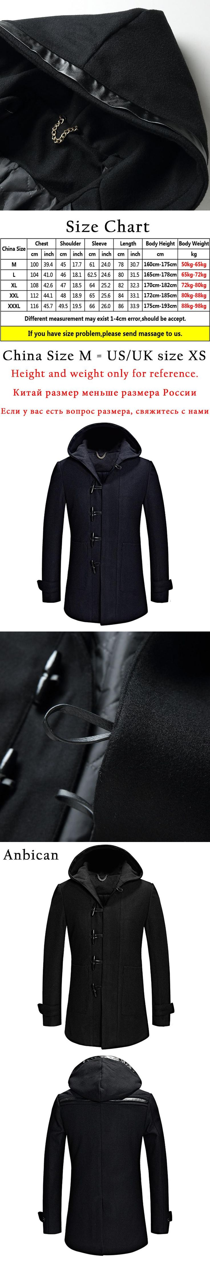 Anbican Fashion Black and Blue Hooded Wool Coat Men 2017 Brand New Single Breasted Mens Winter Long Trench Coat Plus Size M-XXXL
