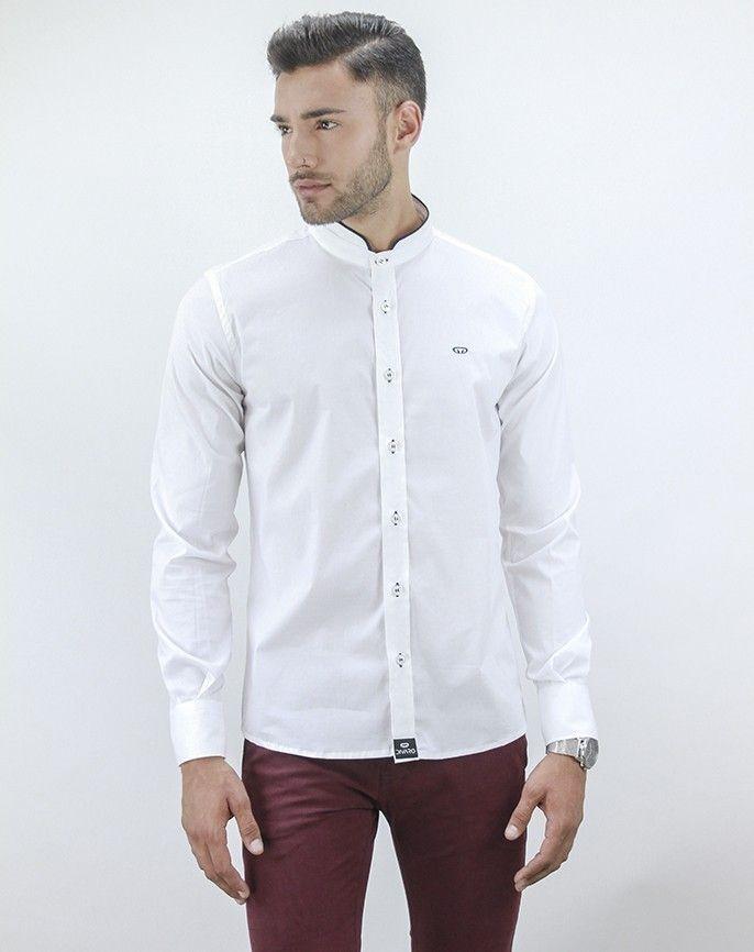 Camisa de Hombre Cuello Italiano | Camisa Elegante Blanca