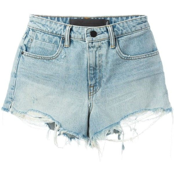 T By Alexander Wang Detroyed Denim Shorts ($200) ❤ liked on Polyvore featuring shorts, blue, denim short shorts, t by alexander wang, bleached denim shorts, blue jean shorts and zipper shorts