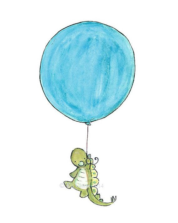 Children's Art  STEGOSAUR BALLOON  Art Print by trafalgarssquare, $10.00