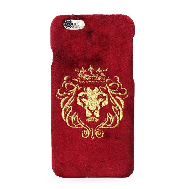 Buy #GOLDEN LION KING EMBROIDERY ON MAROON VELVET #MOBILE #COVER @ voganow.com for Rs.1,499/-