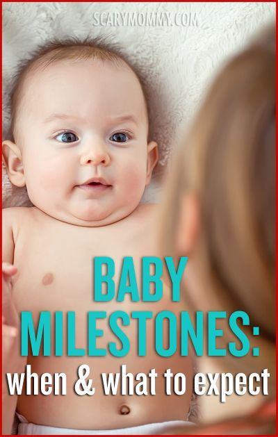Wondering about baby milestones? Every baby is different, but there is a general timeline for each stage of development. Assuming that your baby is developing at an average rate compared to other children the same age, here are some milestones to be on the lookout for via the Scary Mommy Baby Guide | parenting tips and advice | infant | development