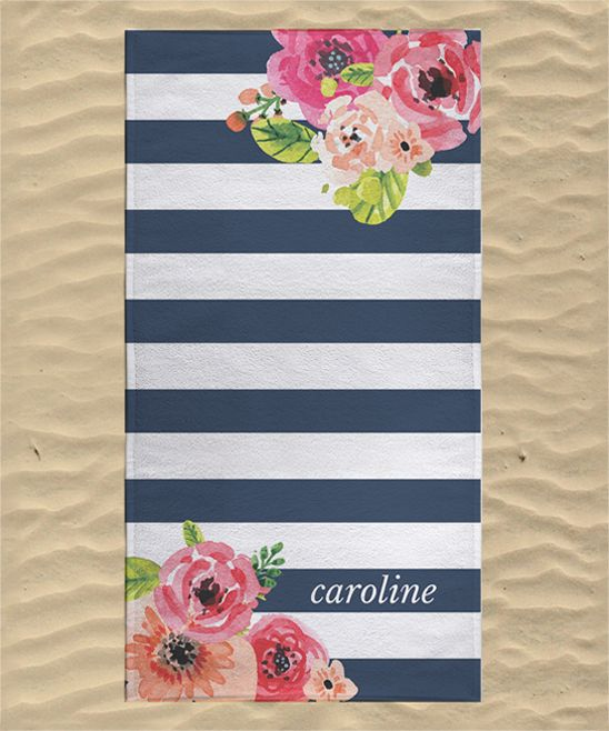 Navy Floral Stripe Personalized Towel