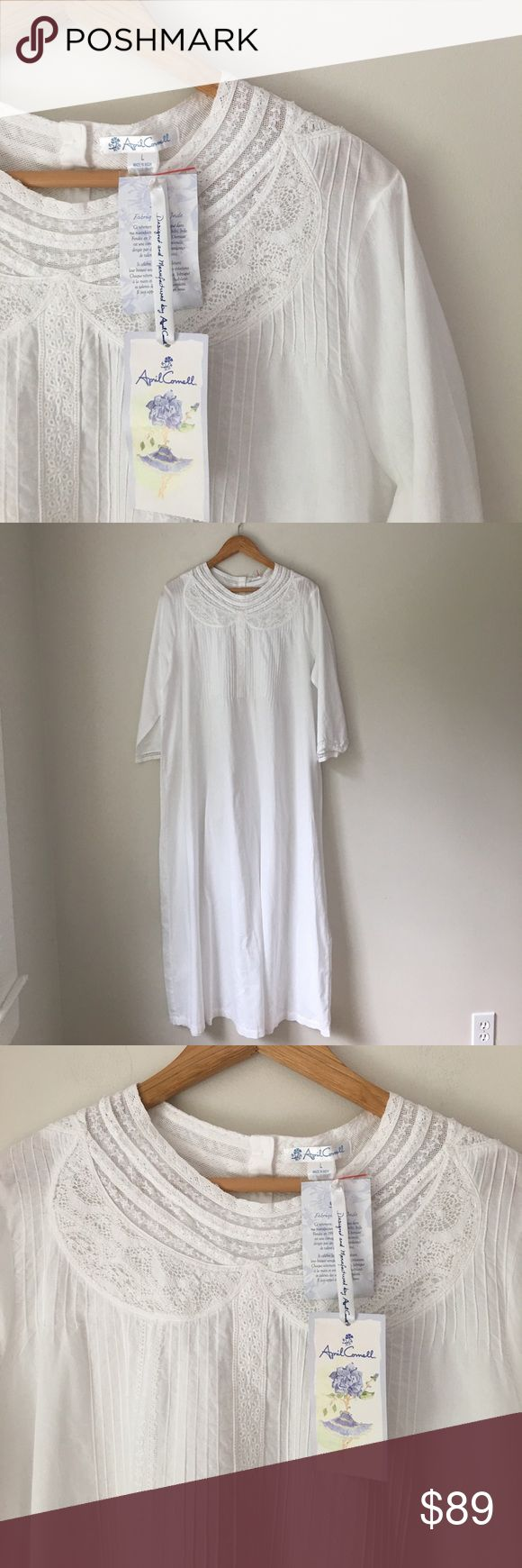 April Cornell White Full Length Night Gown Gorgeous white 109% cotton classic full length night gown by April Cornell. Size Large. NWT. April Cornell Intimates & Sleepwear