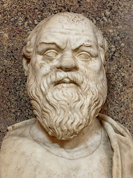 Il busto di Socrate conservato nei Musei Vaticani a Roma