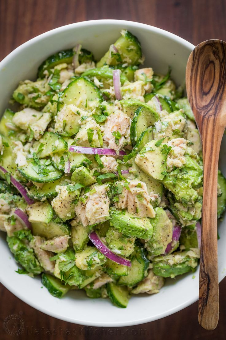 Looking for a new favorite recipe? This Avocado Tuna Salad by Natasha's Kitchen has a simple yet extraordinary combination of ingredients that will satisfy the toughest critics! The creamy and cool avocado chunks, light and crispy cucumbers, fresh and flavorful cilantro, zesty lemon juice and sweet red onions join to create a truly addictive dish. With its delicious flavors and succulent textures, Avocado Tuna Salad is an instant hit.