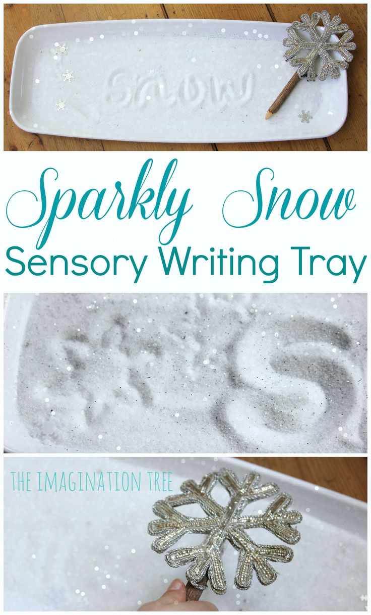 Create a sparkly snow sensory writing tray using two simple, everyday materials for an exciting literacy activity for kids!
