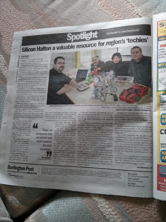 Burlington Post article about Silicon Halton featuring members Ben Zimmer from Enable Education, Michael Lant, yapAgame and ProjectYap and Ian Clark from 3 Peaks.