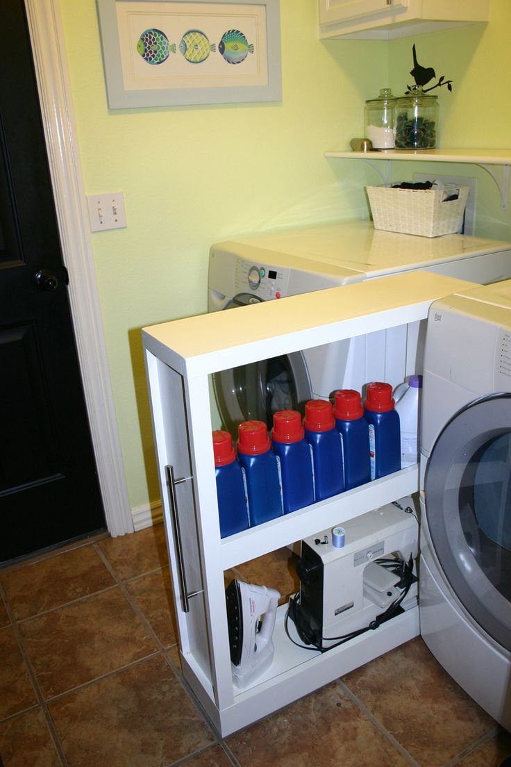 Custom shelf on castors for in between washer and dryer.