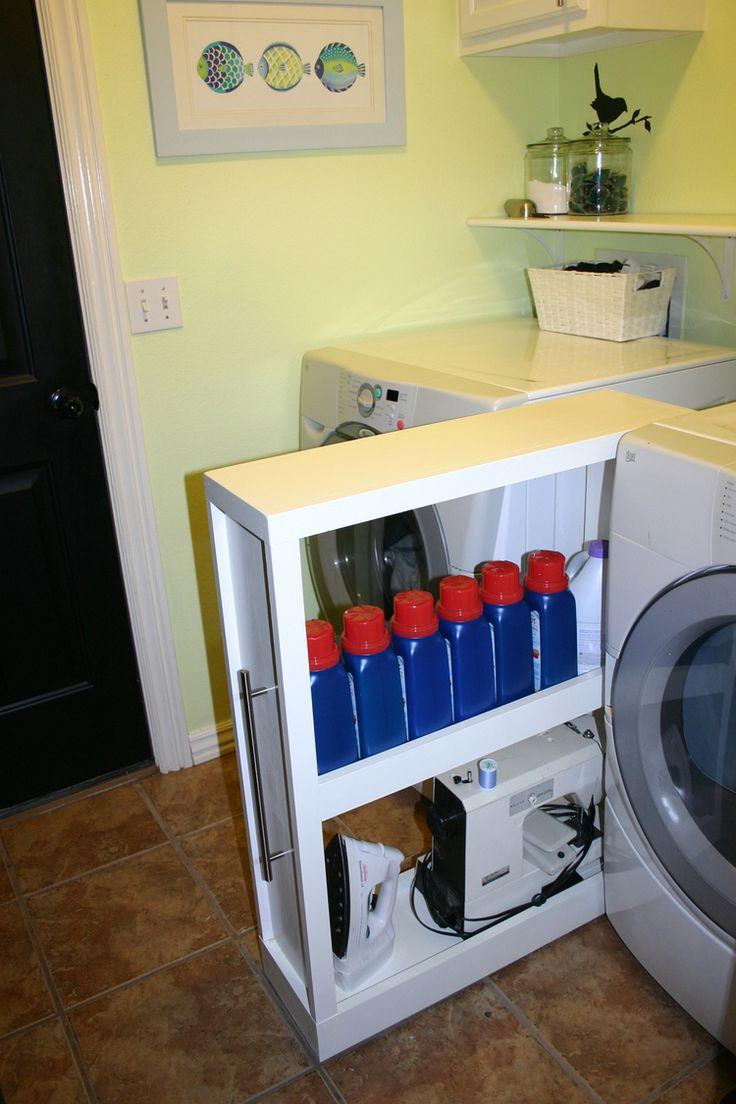 Custom shelf on castors for in between washer and dryer.
