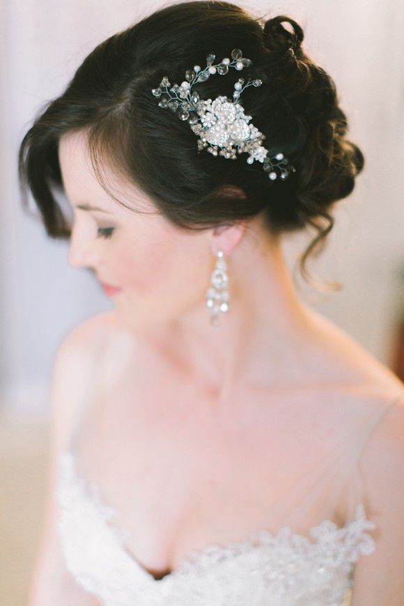 curled updo with pretty bridal hair accessory ~  we ❤ this! moncheribridals.com